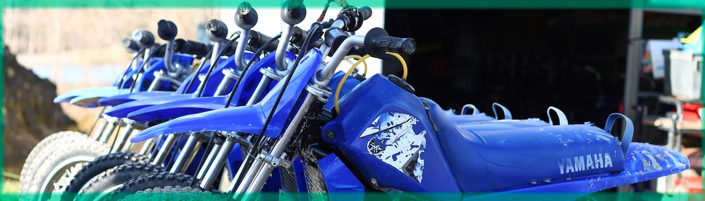 Les motos d'espace moto verte